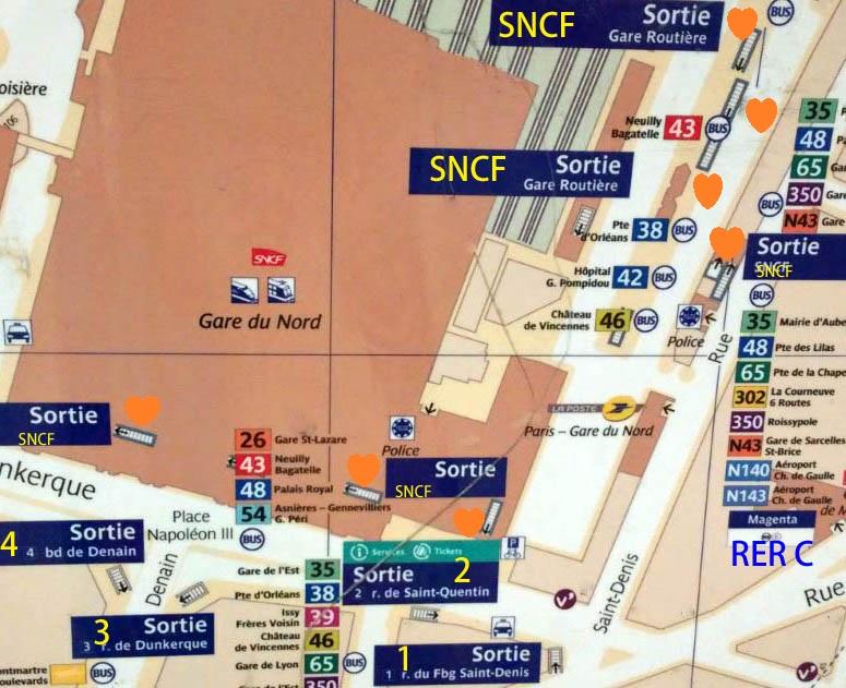 パリ メトロ 地下鉄 出口 sortie 北駅