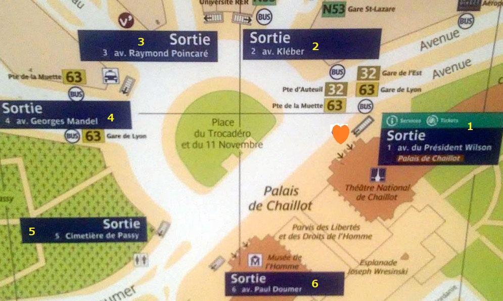 Paris metro sortie, exit, Trocadero