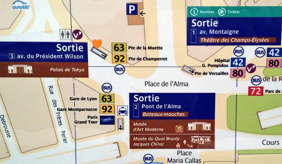 Paris metro sortie, exit, Alma Marceau