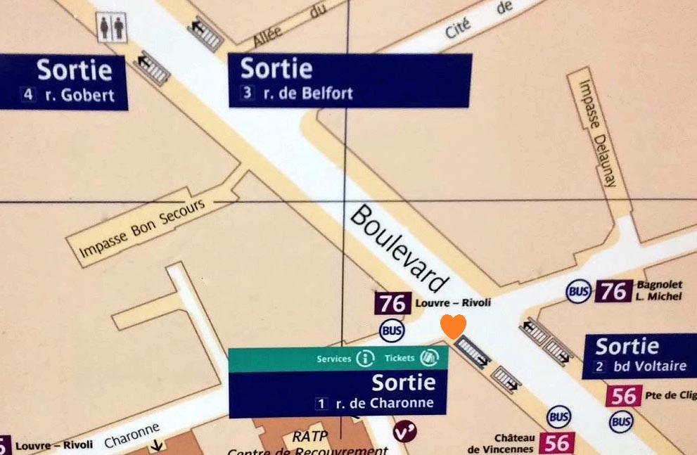 Paris metro sortie, exit, Charonne