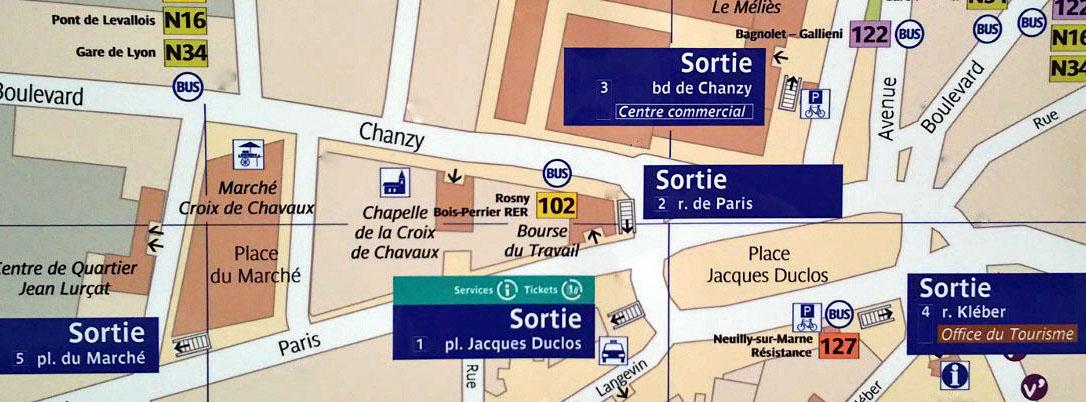 Paris metro sortie, exit, Croix de Chavaux