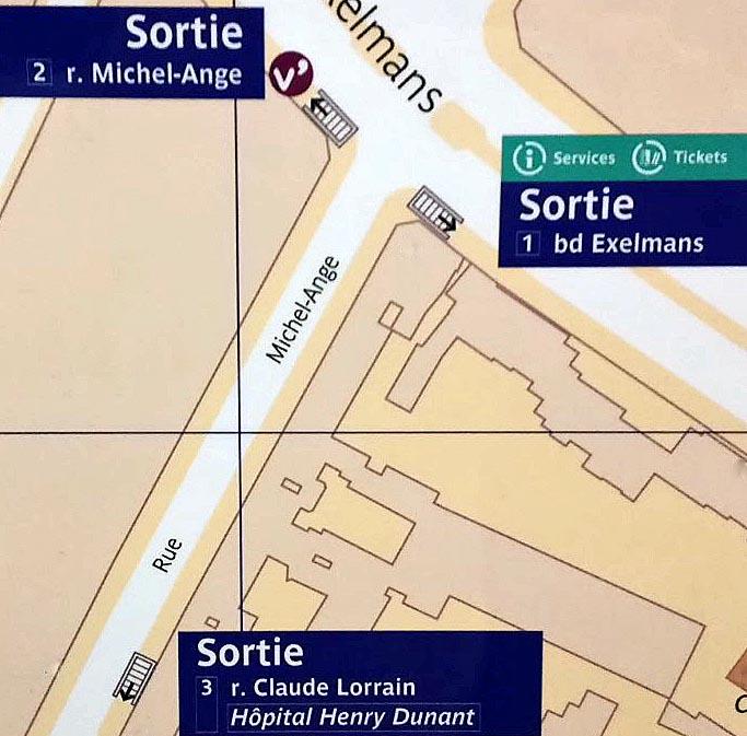 Paris metro sortie, exit, Exelmans