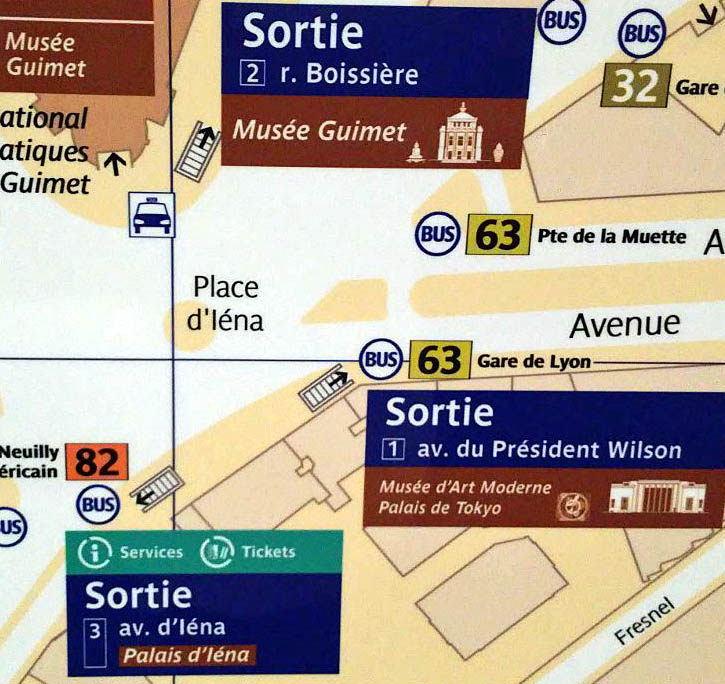 Paris metro sortie, exit, Iena