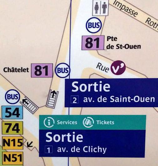 Paris metro sortie, exit, La Fourche