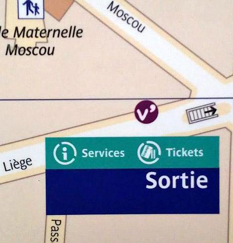 Paris metro sortie, exit, Liege