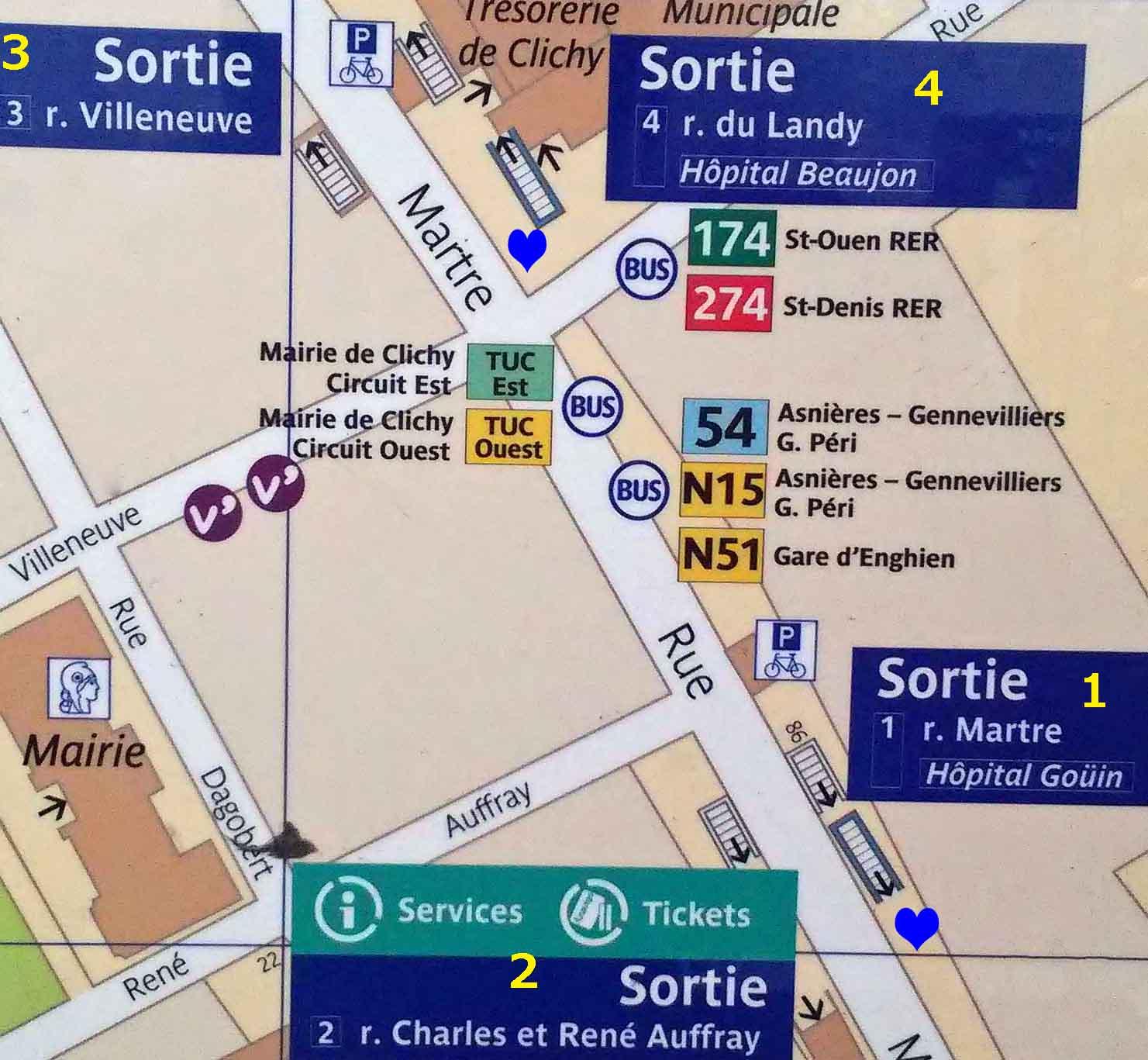 Paris metro sortie, exit, Mairie de Clichy