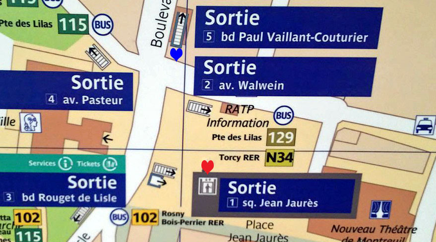 Paris metro sortie, exit, Mairie de Montreuil