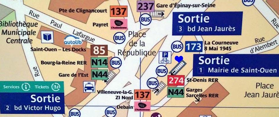 Paris metro sortie, exit, Mairie de St Ouen