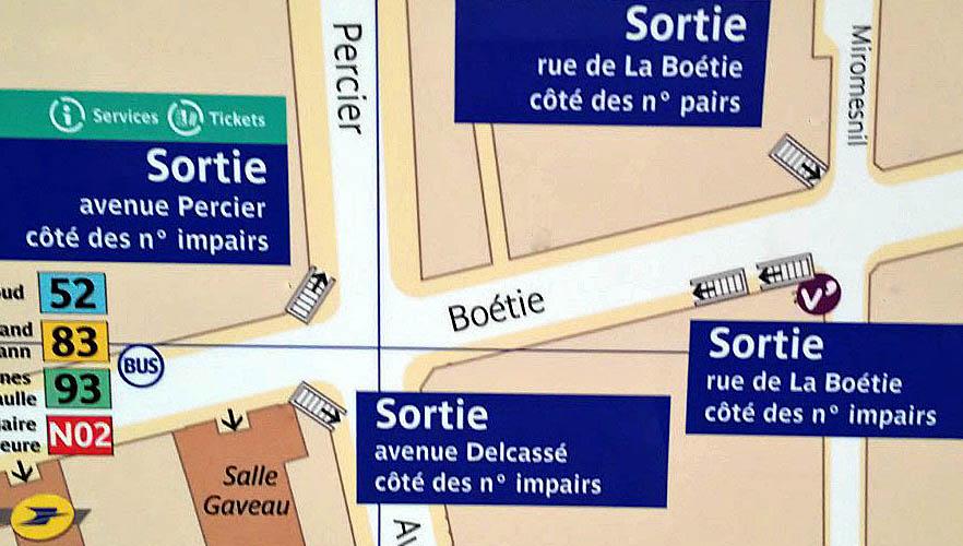 Paris metro sortie, exit, Miromesnil