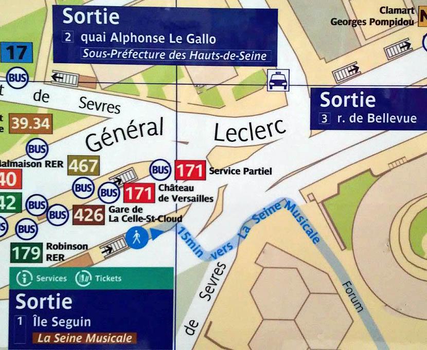 Paris metro sortie, exit, Pont de Sevres