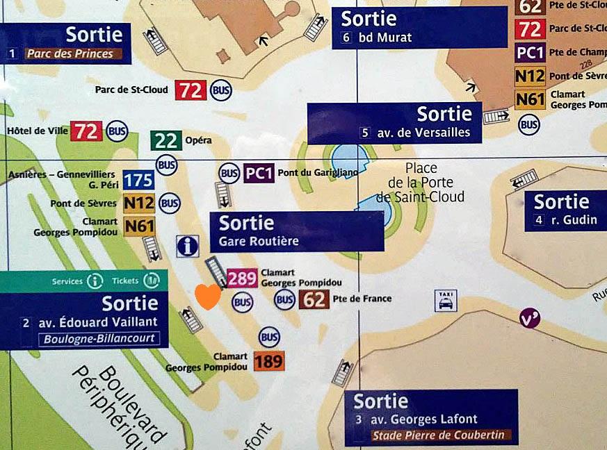 Paris metro sortie, exit Porte de St. Cloud