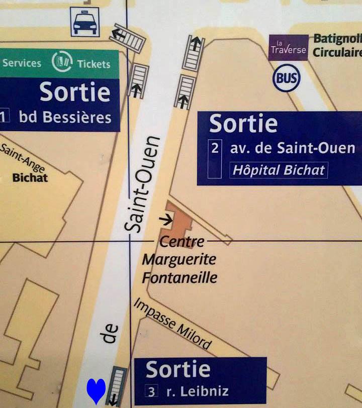 Paris metro sortie, exit, Porte de St Ouen