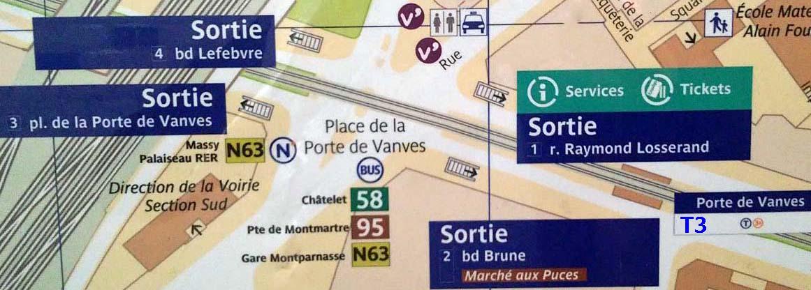 Paris metro sortie, exit, Porte de Vanves