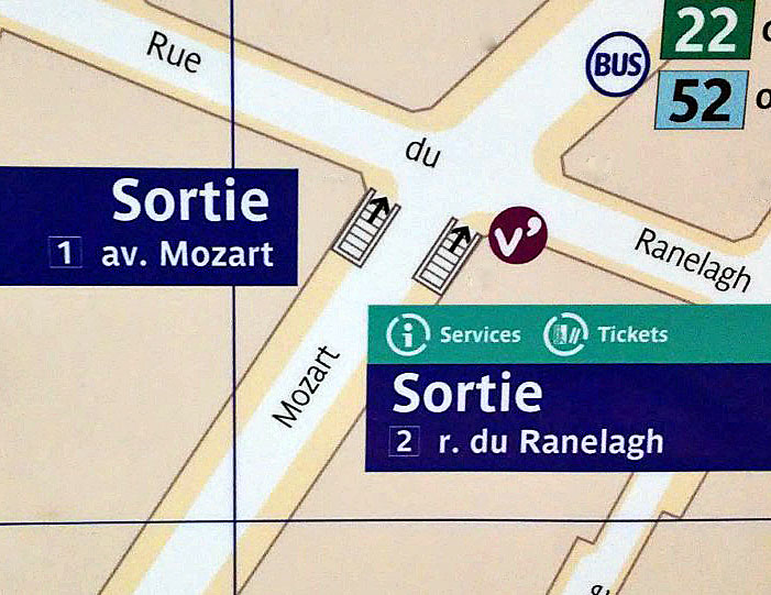 Paris metro sortie, exit, Ranelagh