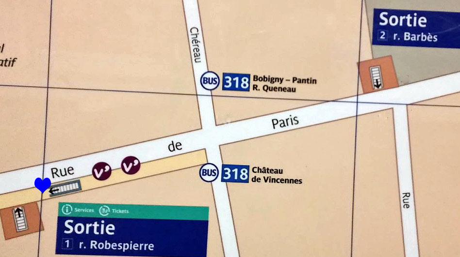 Paris metro sortie, exit, Robespierre