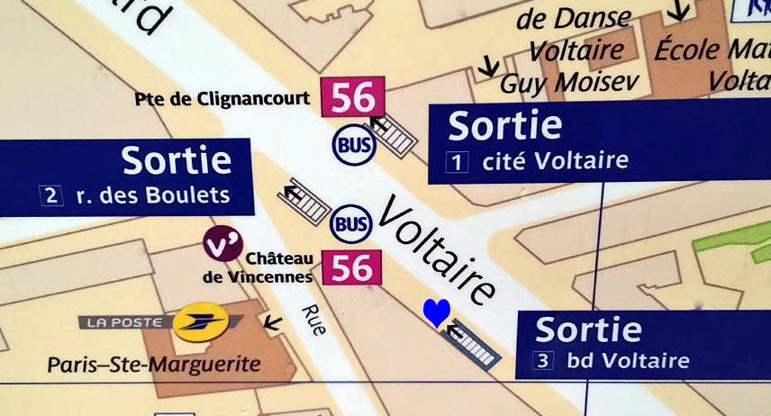 Paris metro sortie, exit, Rue des Boulets
