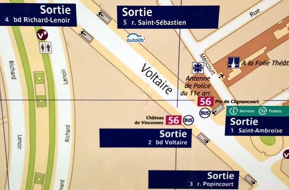 Paris metro sortie exit Saint Ambroise