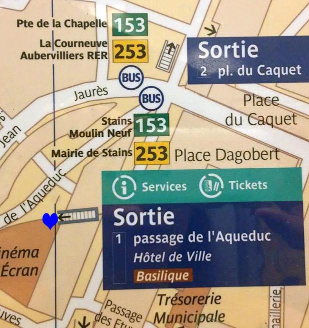 Paris metro sortie, exit, St Denis Univeriste