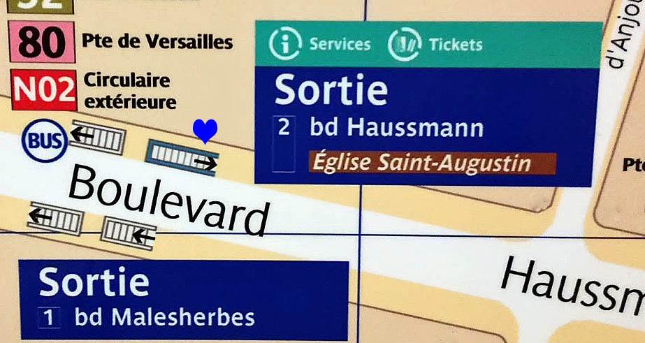 Paris metro sortie, exit, St Augustin